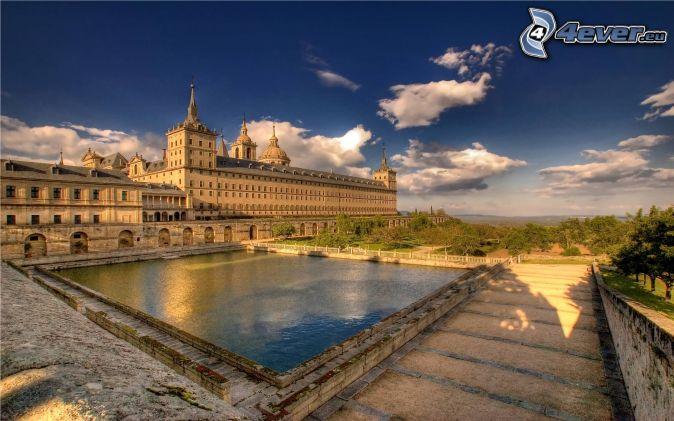 El Escorial, jazierko, chodník, oblaky, HDR