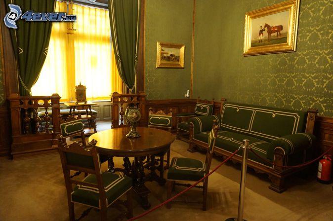 zámok Peles, interiér, sedačka, obrazy