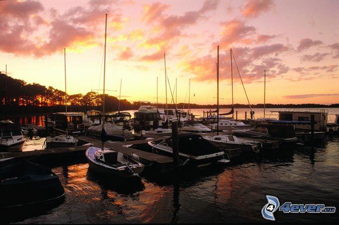 Marina Del Rey, prístav, lode, oranžová obloha, po západe slnka, Kalifornia