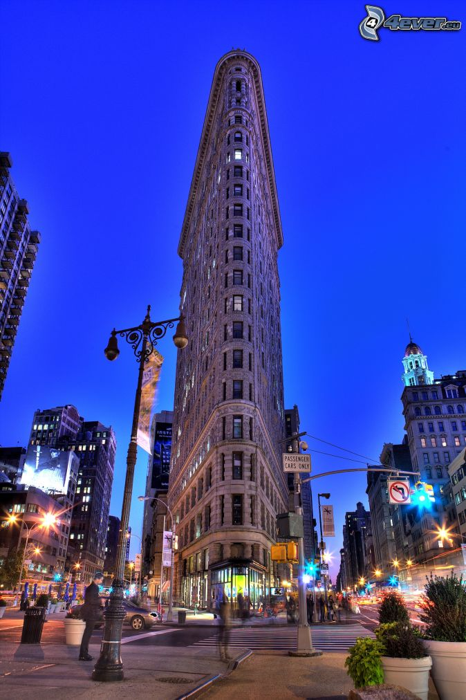 Flatiron, Manhattan, ulice, večerné mesto