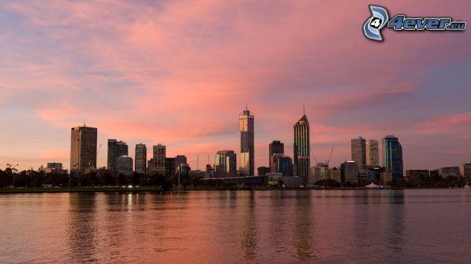Perth, mrakodrapy, oranžová obloha
