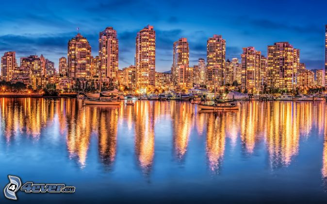 Vancouver, Columbia, HDR, rieka, odraz