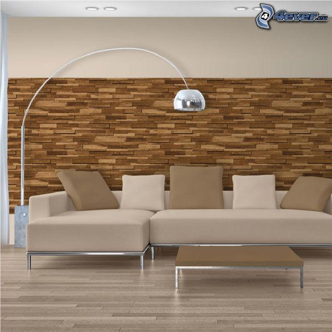 obývačka, gauč, lampa, drevená stena