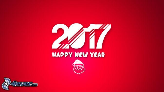 2017, happy new year, šťastný nový rok, Santa Claus, červené pozadie