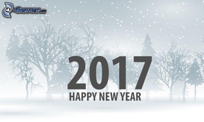 2017, šťastný nový rok, happy new year, zasnežené stromy