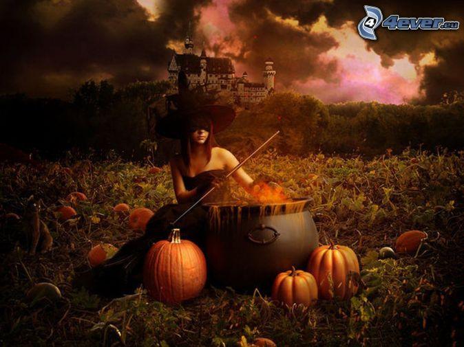 čarodejnica, Halloween, tekvice