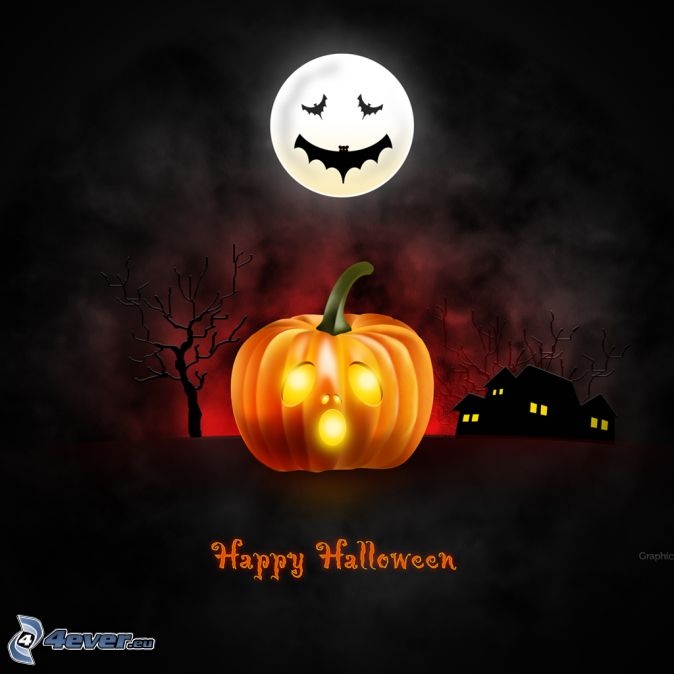halloweenska tekvica, jack-o'-lantern, mesiac