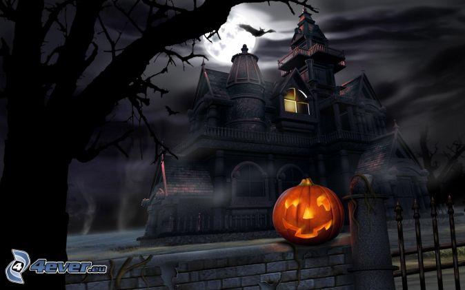 halloweenska tekvica, jack-o'-lantern, strašidelný dom