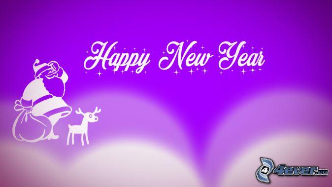 happy new year, šťastný nový rok, Santa Claus, sob, fialové pozadie