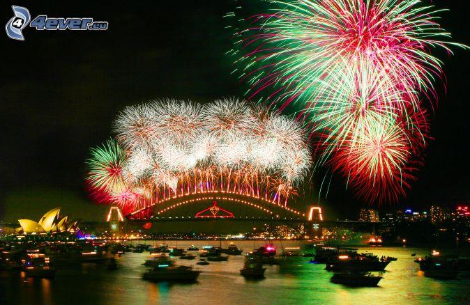 ohňostroj nad Sydney, nový rok, Sydney Harbour Bridge