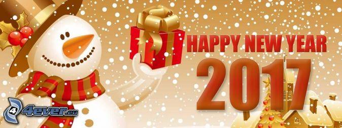 šťastný nový rok, happy new year, 2017, snehuliak, darček, zasnežené chalúpky