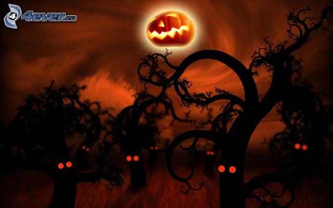 strašidelný strom, halloweenska tekvica