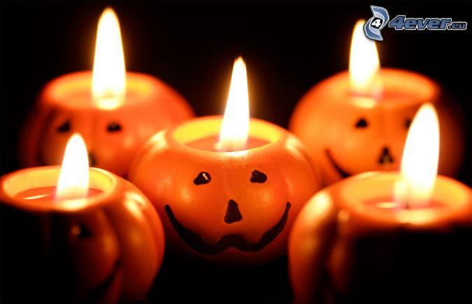 sviečky, halloweenske tekvice