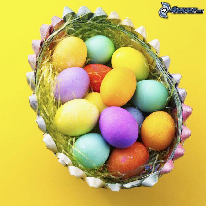 veľkonočné vajíčka, košík