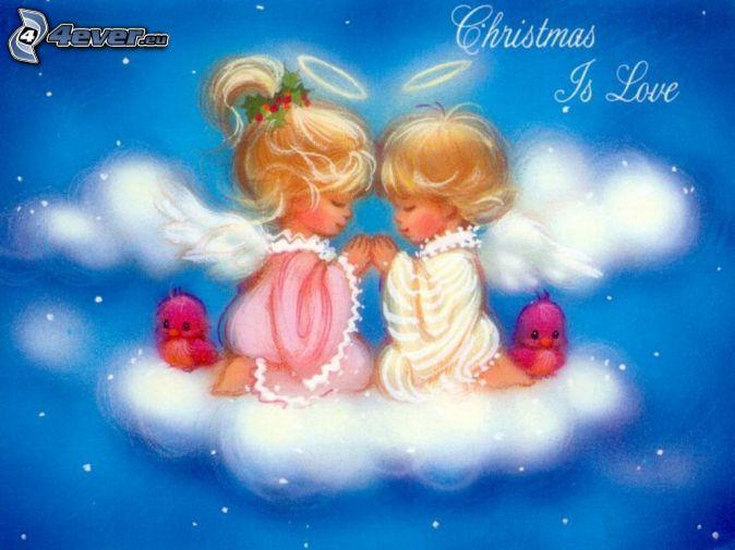 kreslené deti, anjeli, vianoce, láska, nebo