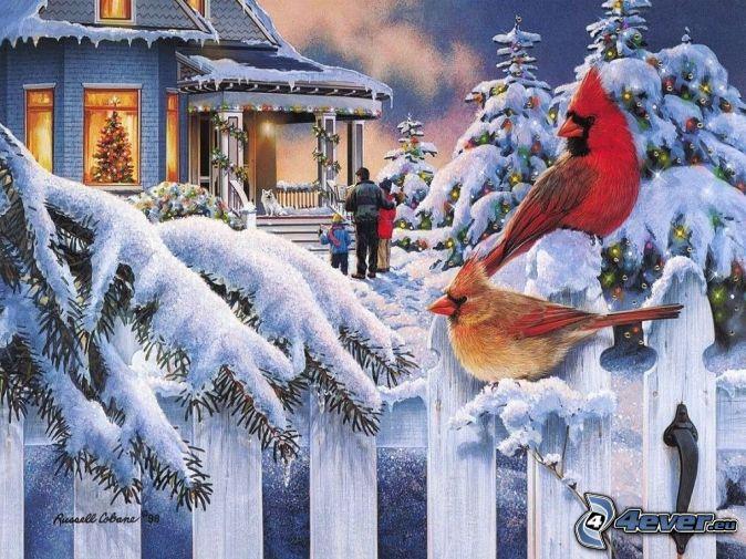 vianoce, zima, zasnežené stromy, vtáčiky, drevený plot