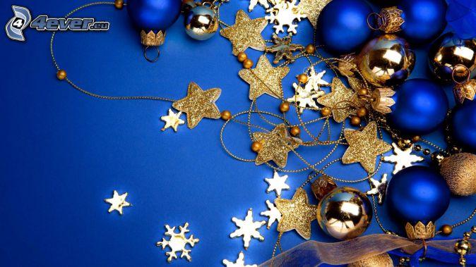 vianočné ozdoby, vianočné gule, hviezdy, snehové vločky