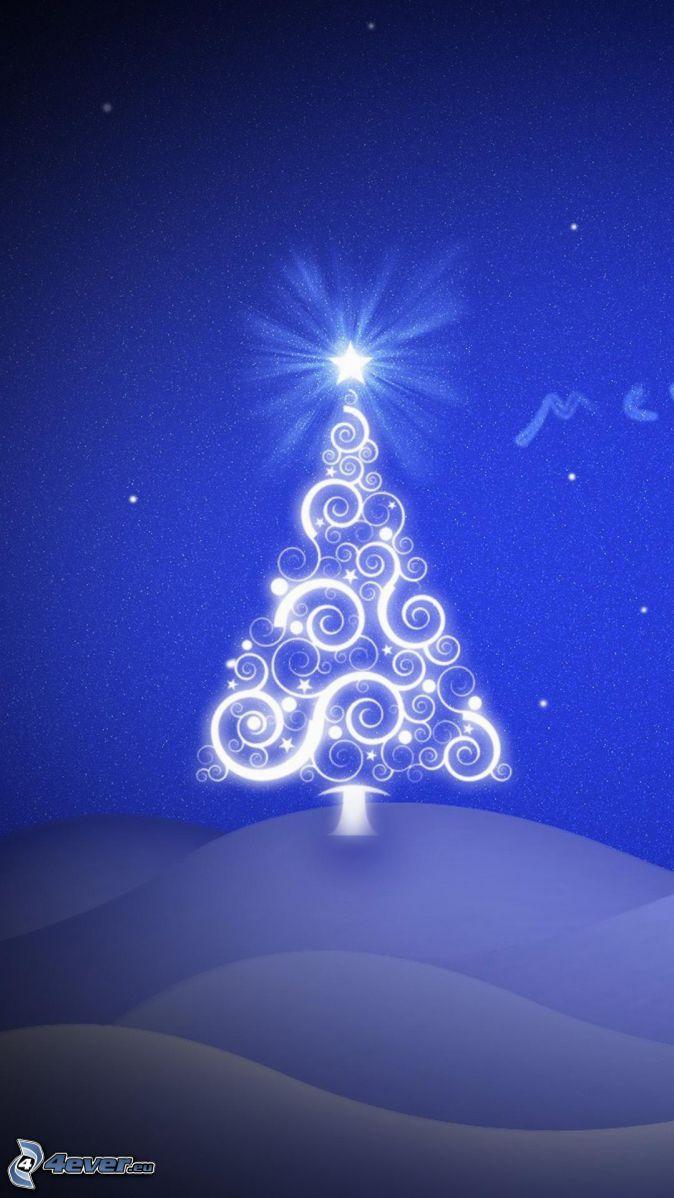 vianočný stromček, hviezda, modré pozadie