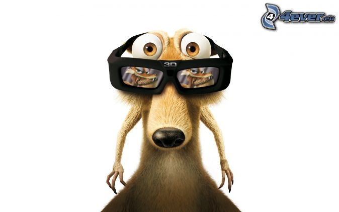 veverička z filmu doba ľadová, okuliare, 3D