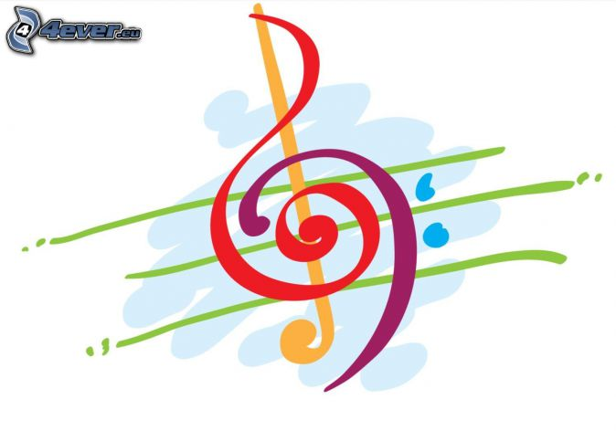 husľový kľúč, kreslené