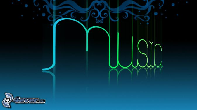 music, modré pozadie