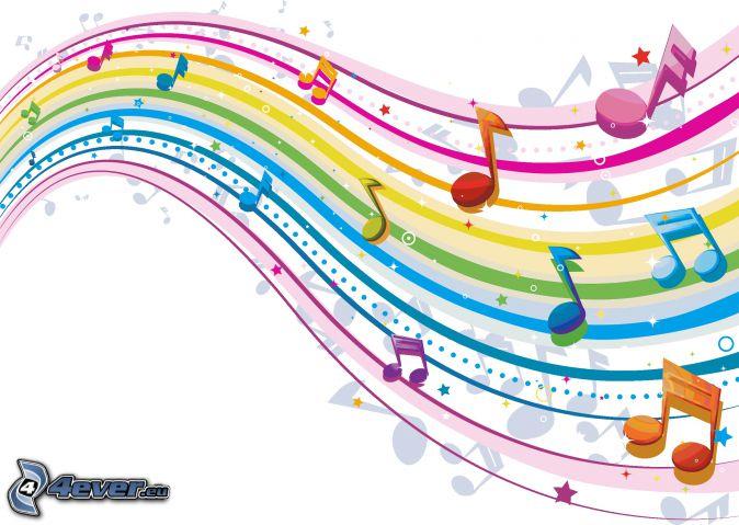 noty, farebné čiary, farebné pozadie, kreslené