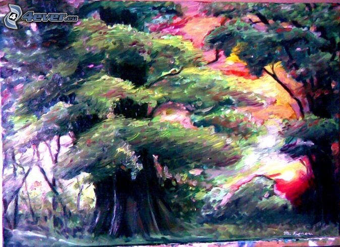 kreslené stromy, západ slnka, olejomaľba