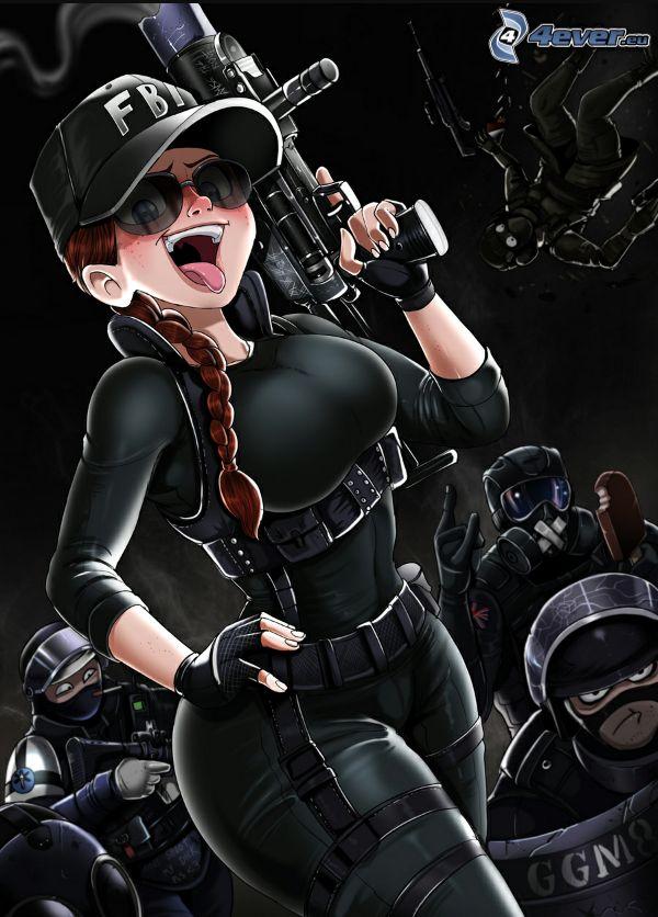 kreslené postavičky, policajtka, žena so zbraňou, FBI, slnečné okuliare