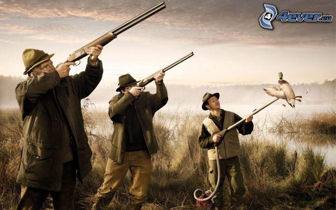 muži, pušky, vysávač, kačka, lov