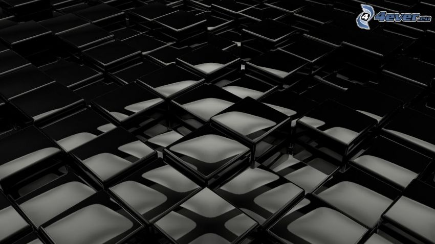 abstraktné kocky, čierne pozadie