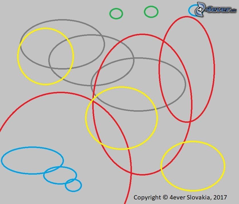 abstraktné kruhy, obraz