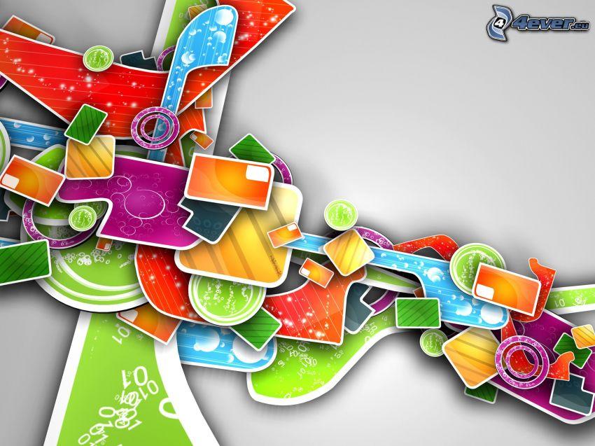 abstraktné tvary, farebné tvary