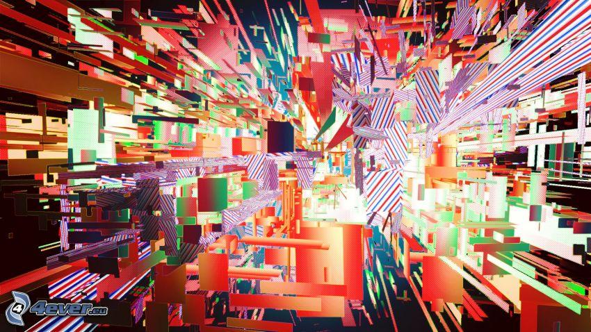 abstraktné tvary, štvorce, abstraktné obdĺžniky