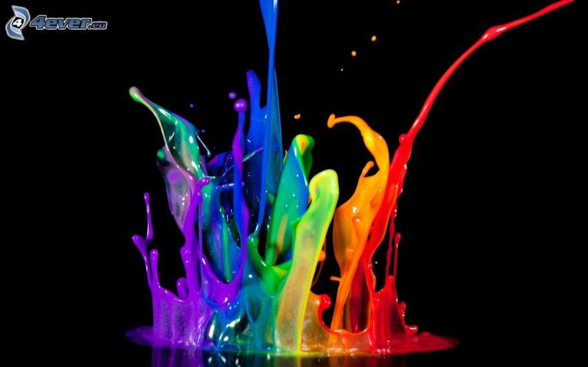dúhové farby, šplech