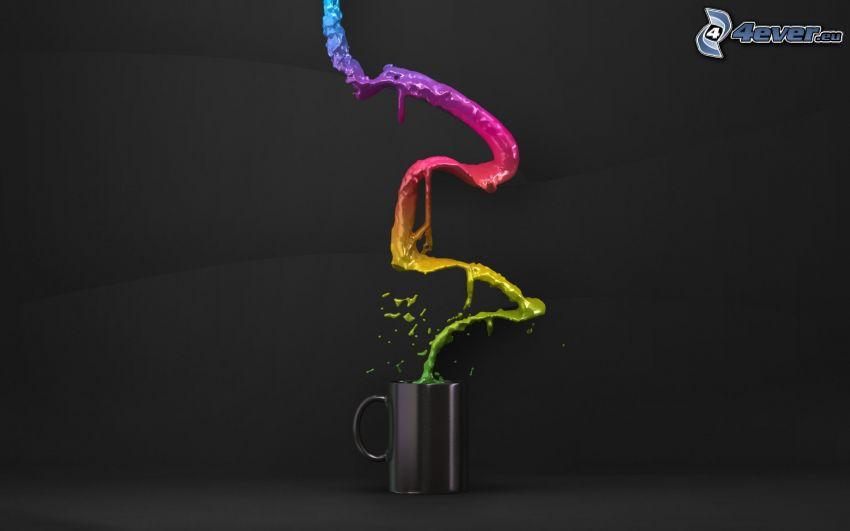 farby, šálka