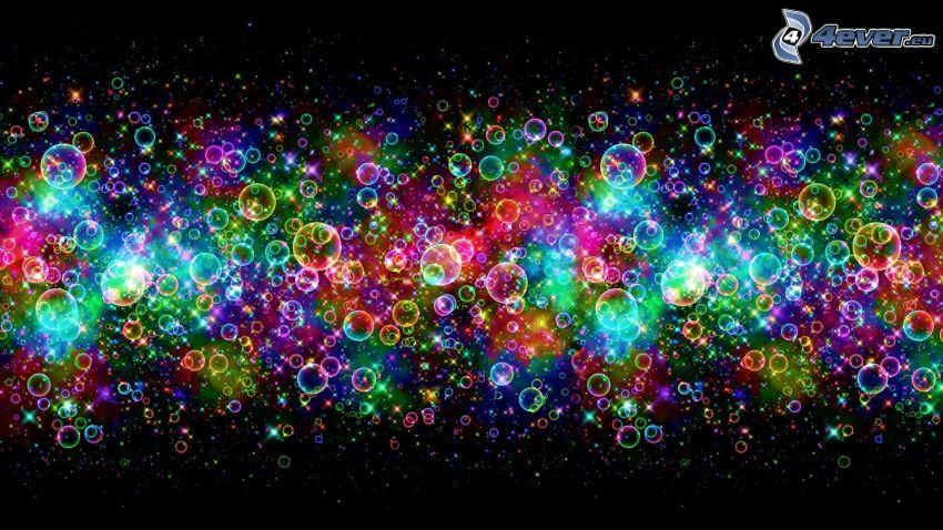 farebné bubliny, abstrakt