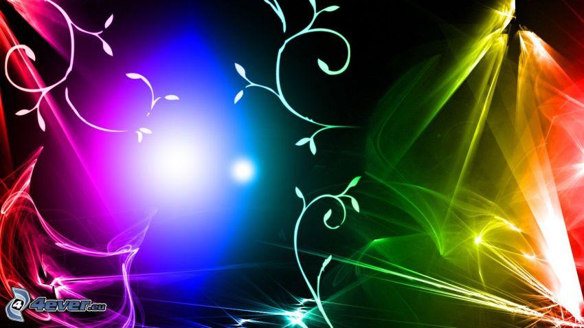 farebné čiary, abstraktné listy, svetlá