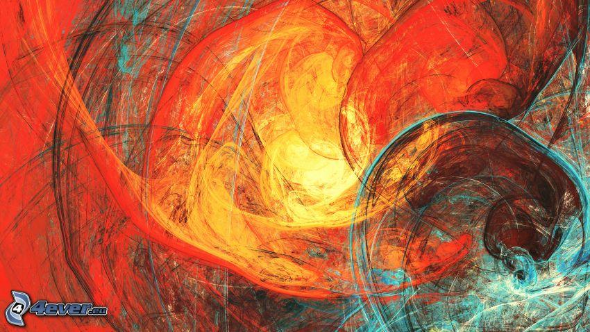 farebné čiary, červené pozadie