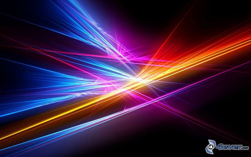 farebné čiary, čierne pozadie