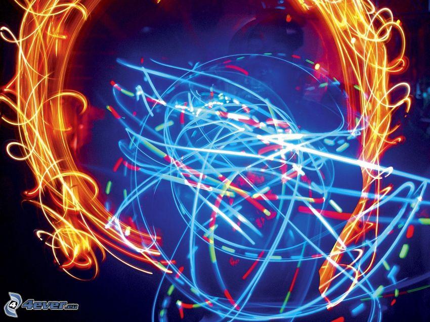 farebné čiary, lightpainting