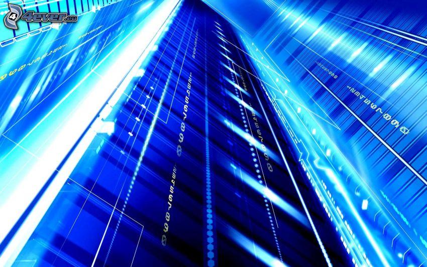 modré pozadie, biele čiary, čísla, svetlá