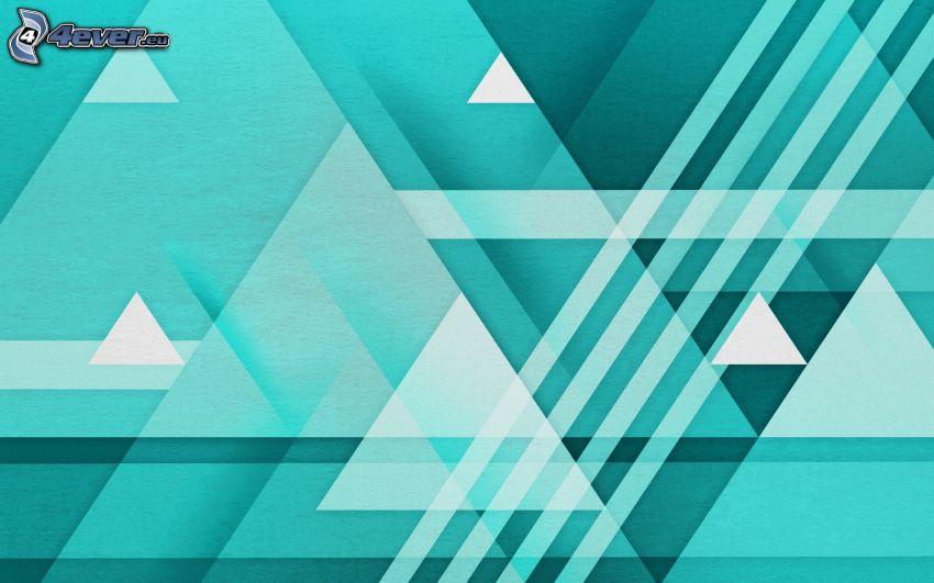 modré pozadie, trojuholníky, biele čiary