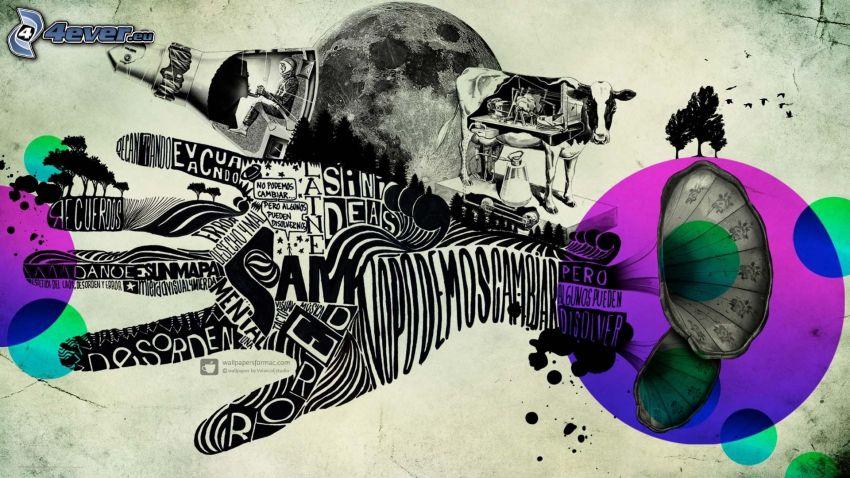 ruka, gramofón, stromy, krava, Zem