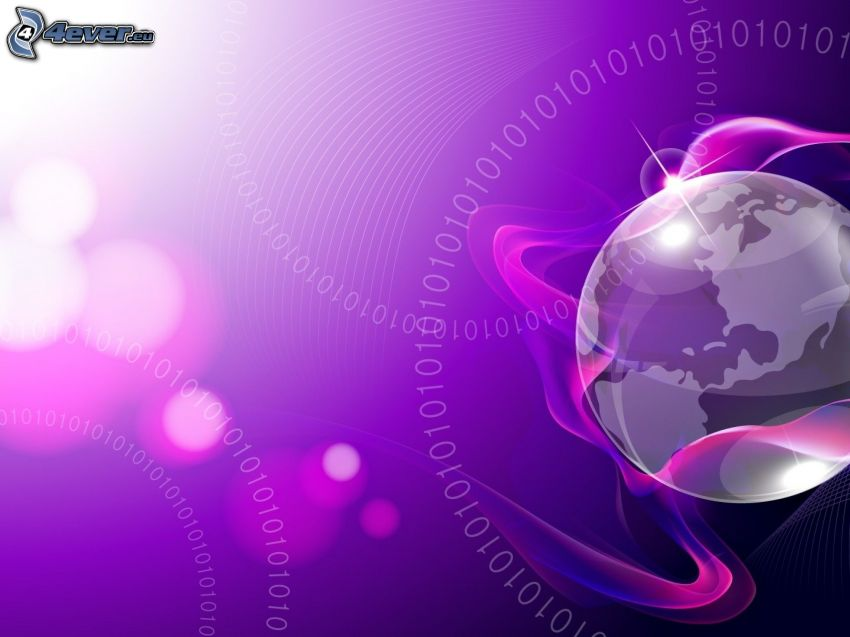 Zem, fialové pásy, binárny kód, fialové pozadie, čísla