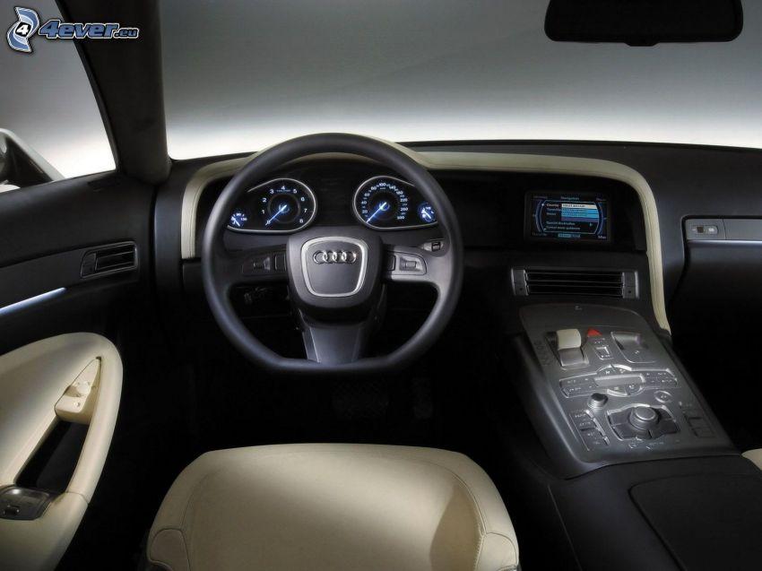 Audi A8, interiér, volant, palubná doska