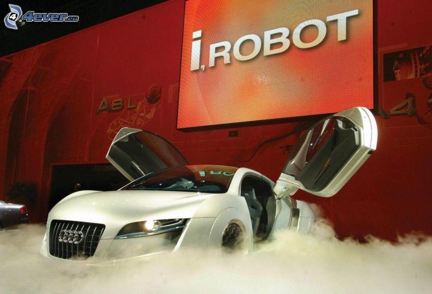Audi RSQ, dvere, výstava, dym