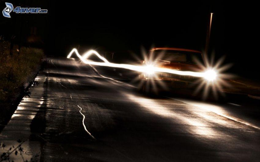auto, lightpainting, svetlá, noc, cesta
