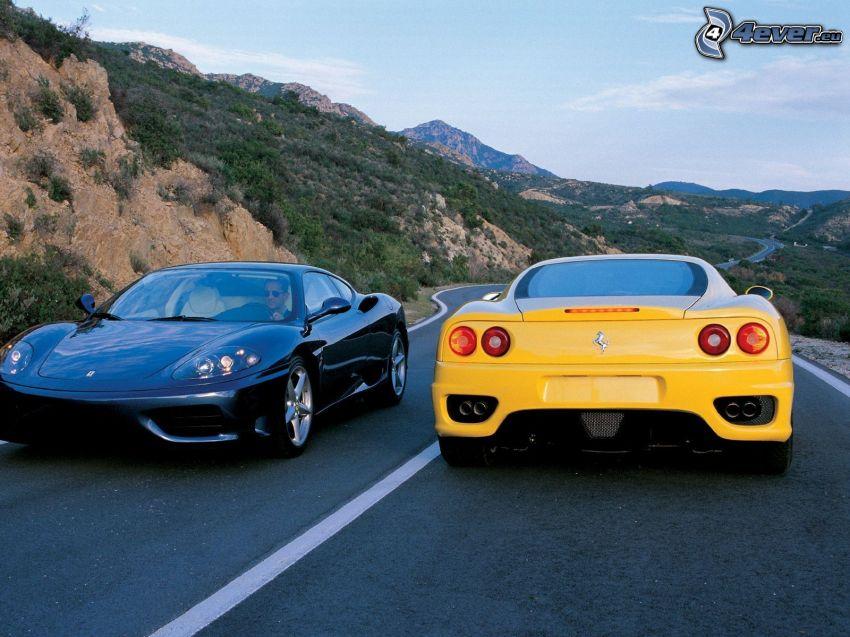 Ferrari 360 Modena, cesta, hornatá krajina