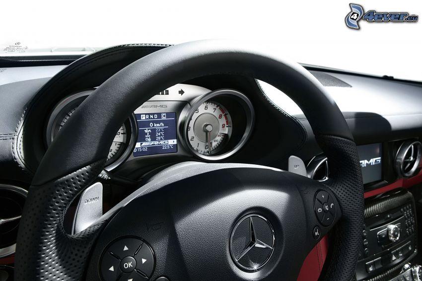Mercedes-Benz SLS AMG, interiér, volant, palubná doska