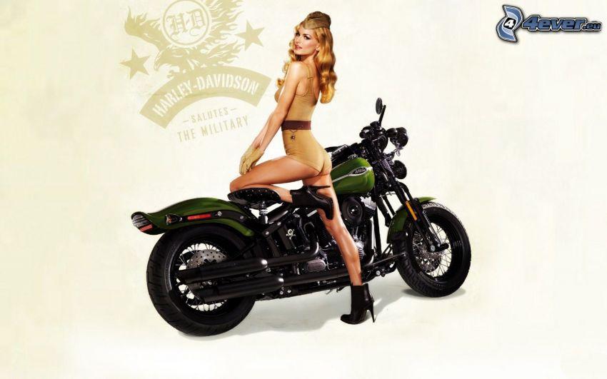 Harley-Davidson, sexi blondínka